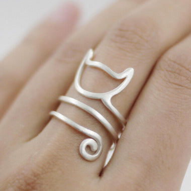 MissMeowni Ring OneSize / Silver Cat Wrap Ring