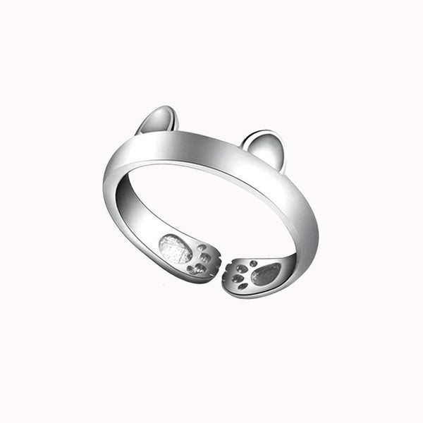 MissMeowni Ring OneSize / Silver Kitty Cat Ear and Paws Ring