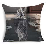 Tiger in Cat Cushion Cover-Home Decor-MissMeowni
