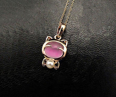 Wild Cat Opel Necklace - Pink-Earring-MissMeowni