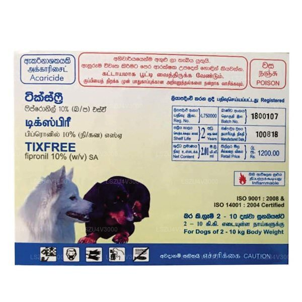 Tixfree Spot On,Dog 02 10 Kg (3 Packs)