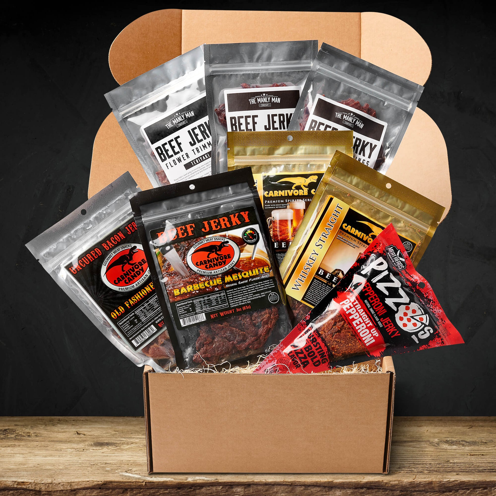 The best jerky gift crate sitting on wood paneled floor