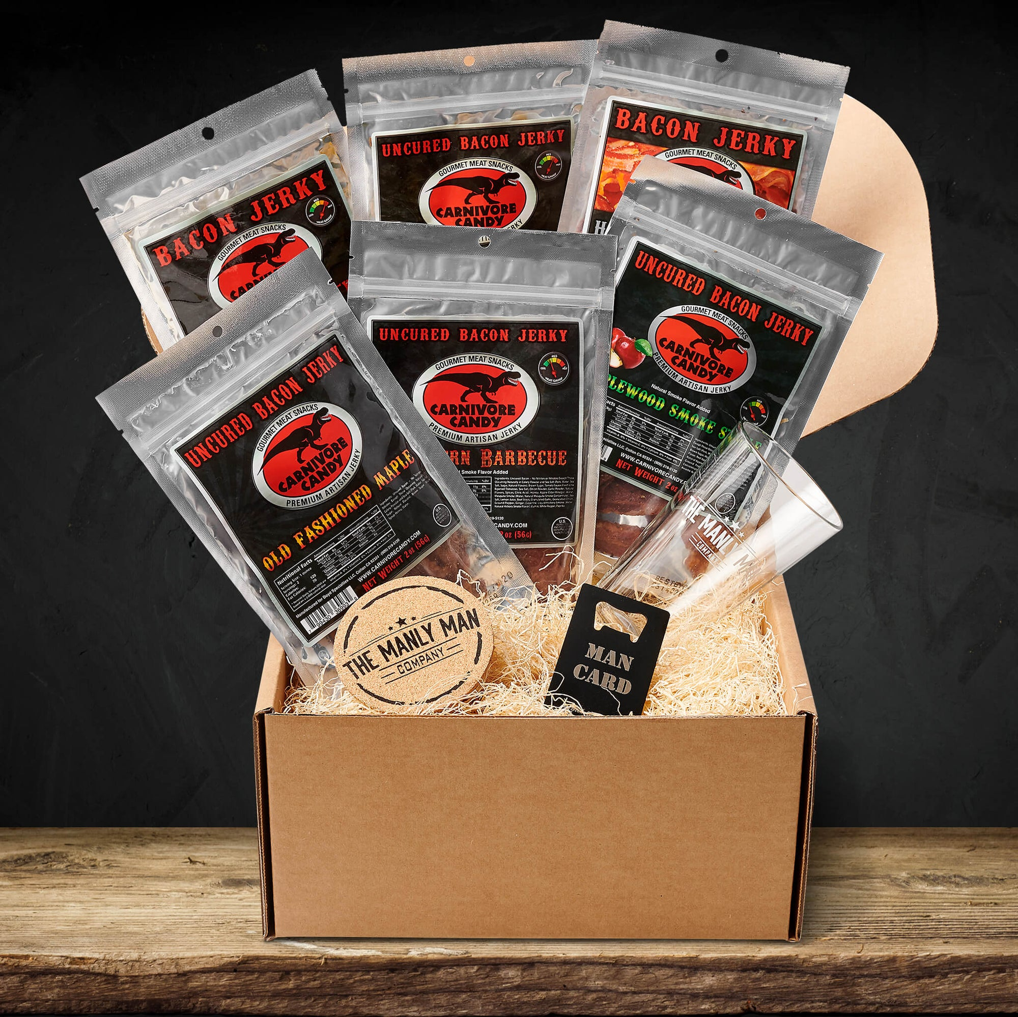 This gift box comes with a variety of bacon jerky flavors, a coaster, a bottle opener and a pint glass.
