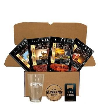 Booze infused jerky gift set comes with varietry of beef jerky,pint glass,coaster and bootle opener.