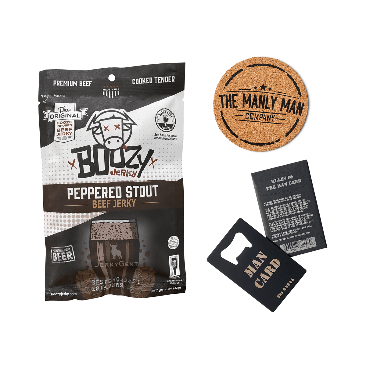 THE BEER BUNDLE (Draft Ale Beef Jerky, Man Card Bottle Opener & Coaster)