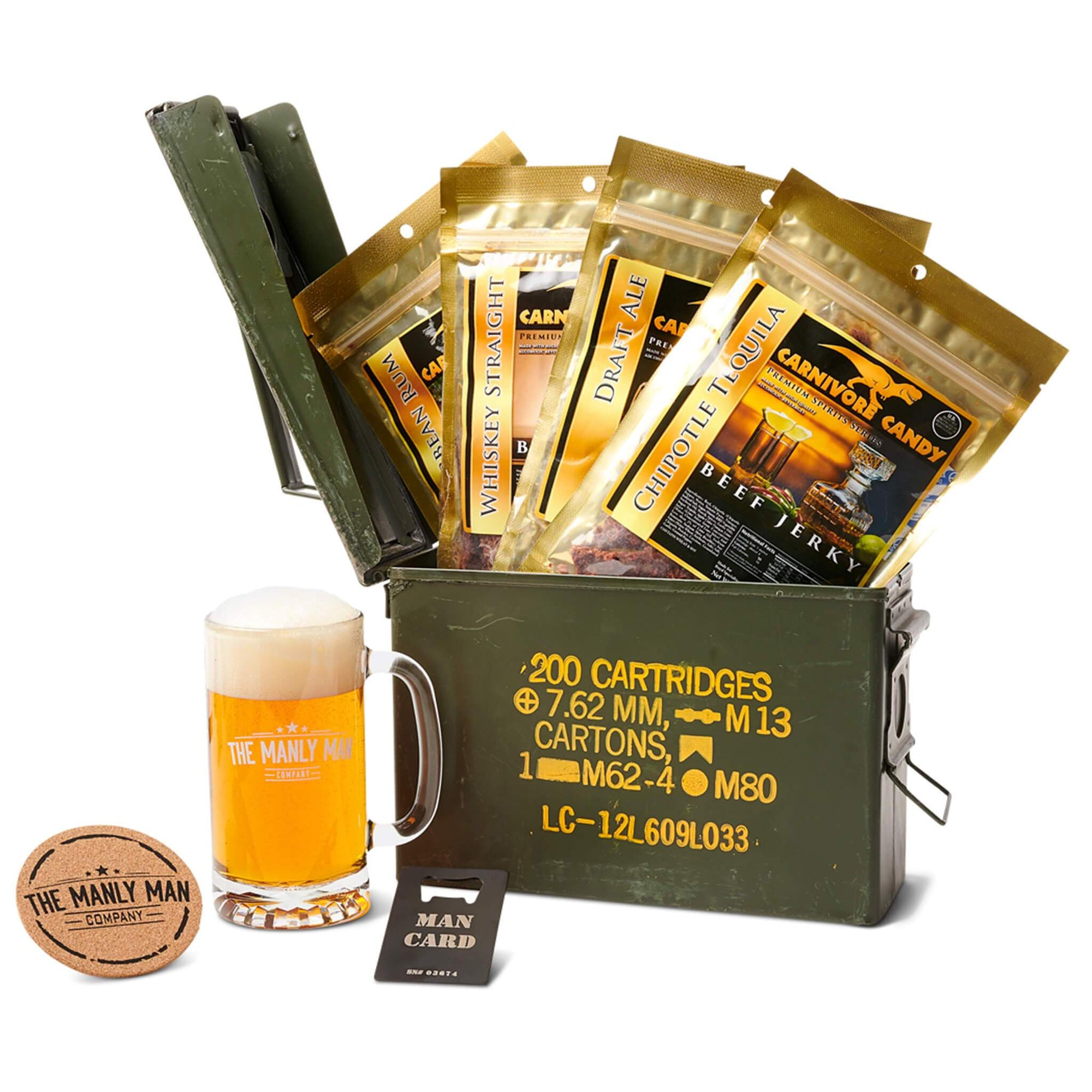 Booze Infused Jerky Ammo Can Gift Basket