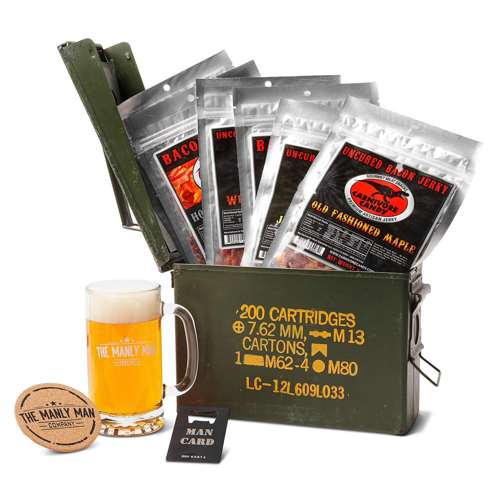 Bacon Jerky Ammo Can Gift Basket