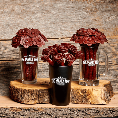 Beef Jerky Rose Bouquet - Black Steel Edition (Father's Day Reservation) Full Dozen / Mixed