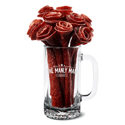 The Manly Man Company Father's Day Reservation of Beef Jerky Rose Bouquet & Beer Mug