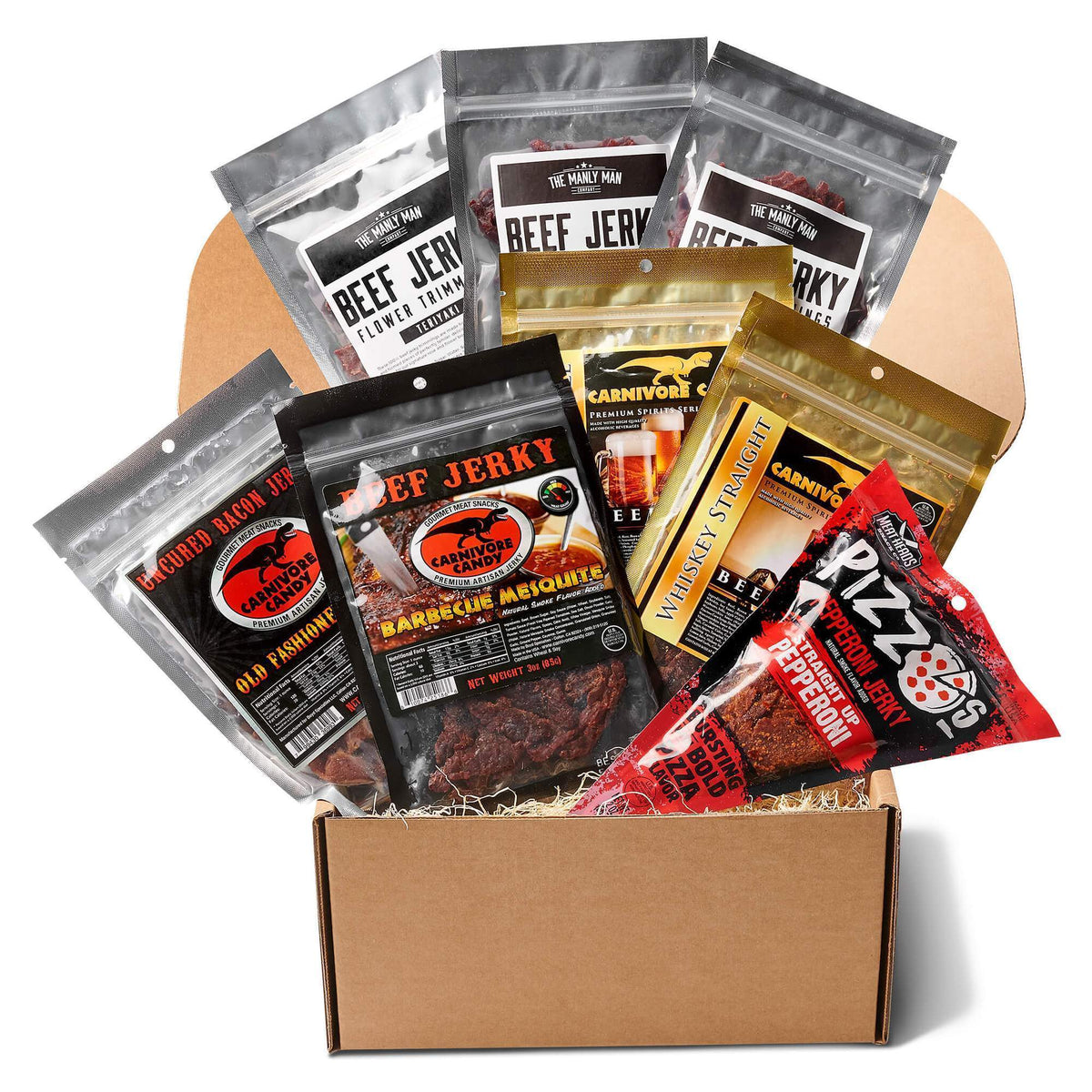 Gift box filled with best selling bags of jerky on white background
