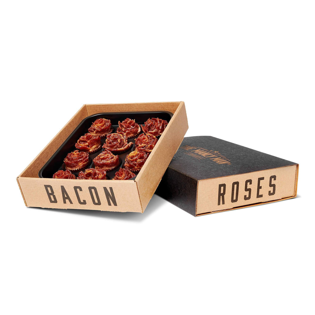 Box of BACON ROSES + Dark Chocolate, partially sitting on top of it's cover, on white background