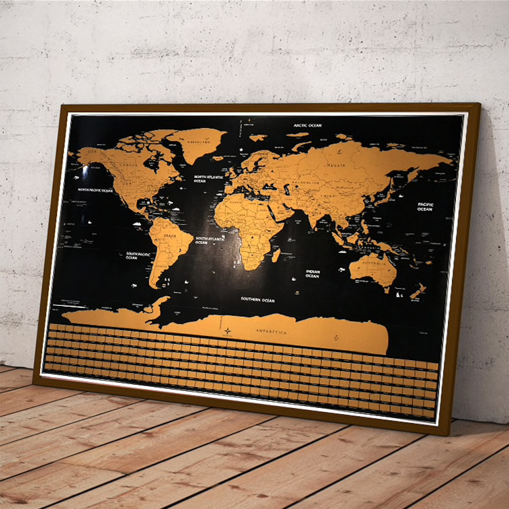 Scratch-Off World Map Poster (Black and Gold)