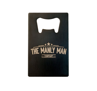 Back of MAN CARD bottle opener with Manly Man Co. logo, on white background