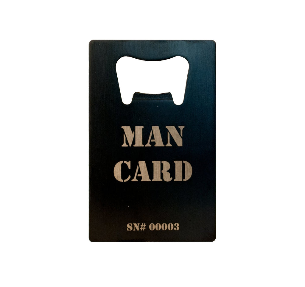 Individually serialized number on side of The Official MAN CARD (Beer Bottle Opener)