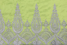 Load image into Gallery viewer, Machine Embroidered George Wrapper Design # 7389 - Lime Green - With Blouse