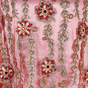 Hand Embroidered Fabric Design # 4083 - Red - Per Yard