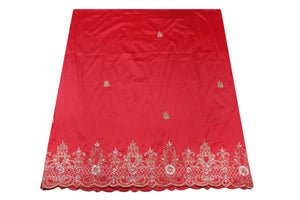 Hand Embroidered George Wrapper Design # 9558 - Coral - With Blouse