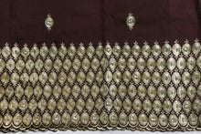 Load image into Gallery viewer, Machine Embroidered George Wrapper Design # 7029 - Coffee Brown - Without Blouse