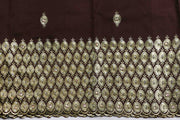 Machine Embroidered George Wrapper Design # 7029 - Coffee Brown - Without Blouse