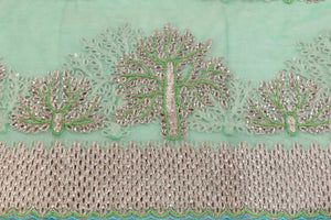 Hand Embroidered Blouse Design # 3395 - Aqua Green - 1.75 Yards