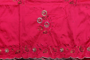 Machine Embroidered George Wrapper Design # 7057 - Fuchsia Pink - Without Blouse