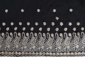 Machine Embroidered George Wrapper Design # 7399 - Black - With Blouse