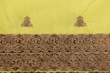 Load image into Gallery viewer, Machine Embroidered George  Wrapper Design # 7431 - Yellow - With Blouse