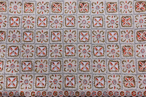 Hand Stoned George Wrapper Design # 6625 - Cream - Burnt Orange Stone - With Blouse