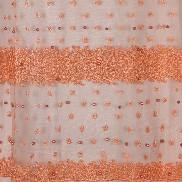 Machine Embroidered Fabric Design # 4028- Peach- With Pearls - 5 Yard Piece
