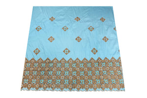 Hand Stoned George Wrapper Design # 6703 - Sky Blue - With Blouse