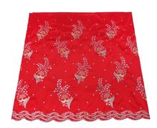Load image into Gallery viewer, Machine Embroidered George Wrapper Design # 7042 - Red - Without Blouse
