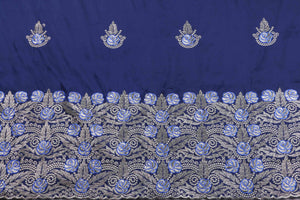 Machine Embroidered George Wrapper Design # 7408 - Navy Blue - With Blouse