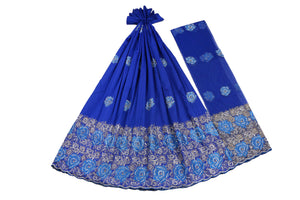 Hand Stoned George Wrapper Design # 6646 - Royal Blue - With Blouse