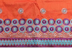 Machine Embroidered George Wrapper Design # 7097 - Burnt Orange - Without Blouse