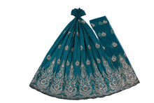 Load image into Gallery viewer, Hand Stoned George Wrapper Design # 6545 - Teal Green - With Blouse