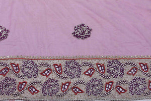 Hand Embroidered Blouse Design # 3221 - Purple - 1.7 Yards