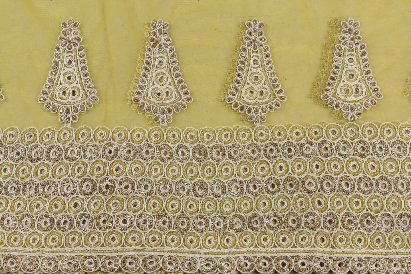 Hand Embroidered Blouse Design # 3368 - Yellow - With Blouse - 1.7 Yards