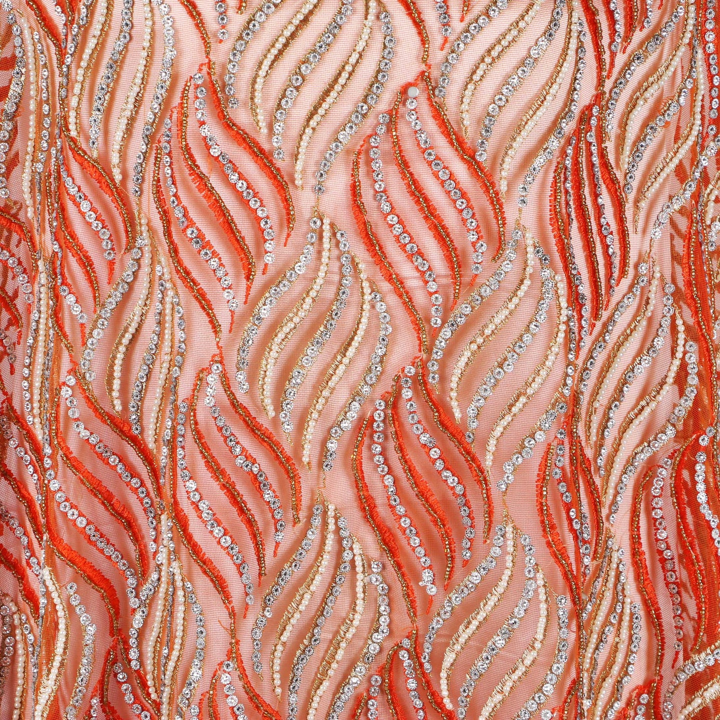 Hand Embroidered Fabric Design # 4114 - Orange - Per Yard