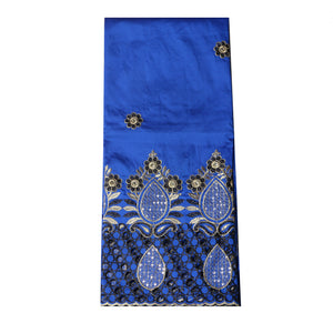 Machine Embroidered Single George Wrapper Design # 5001 - Royal Blue
