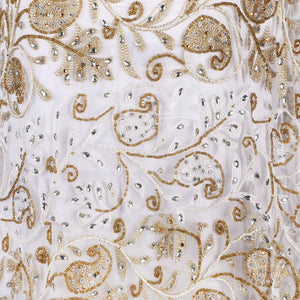 Hand Embroidered Fabric Design # 4090 - Cream - Per Yard
