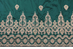 Machine Embroidered George Wrapper Design # 7396 - Bottle Green - With Contrast Blouse
