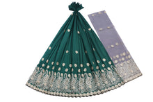 Load image into Gallery viewer, Machine Embroidered George Wrapper Design # 7399 - Bottle Green - With Blouse