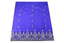 Load image into Gallery viewer, Hand Embroidered George Wrapper Design # 9424 - Royal Blue - Without Blouse