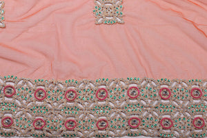 Hand Embroidered Blouse Design # 3246 - Burnt Orange - 1.7 Yards