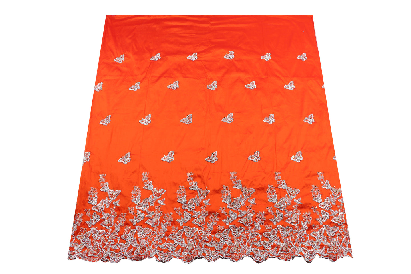 Hand Stoned George Wrapper Design # 6682 - Burnt Orange - With Blouse