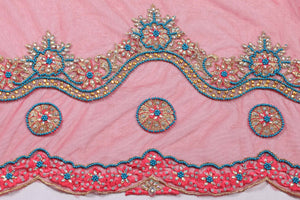 Hand Embroidered Blouse Design # 3257 - Red - 1.7 Yards