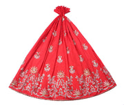Machine Embroidered George Wrapper Design # 7054 - Red - Without Blouse