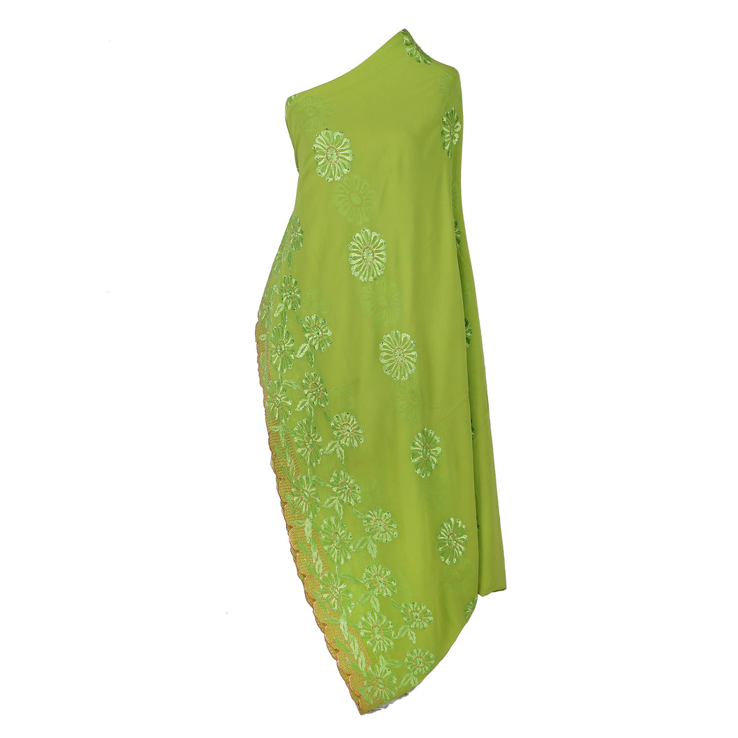 Wrap Around Scarf  Design # 2003 - Lime Green - 5 Yard Piece