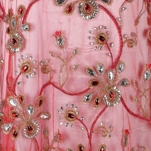Hand Embroidered Fabric Design # 4081 - Red - Per Yard