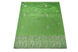 Hand Embroidered George Wrapper Design # 9415 - Lime Green - With Blouse
